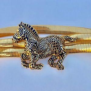'80s vintage / zebra gold tone belt
